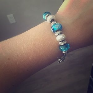 Costume jewelry blue and diamond bracelet